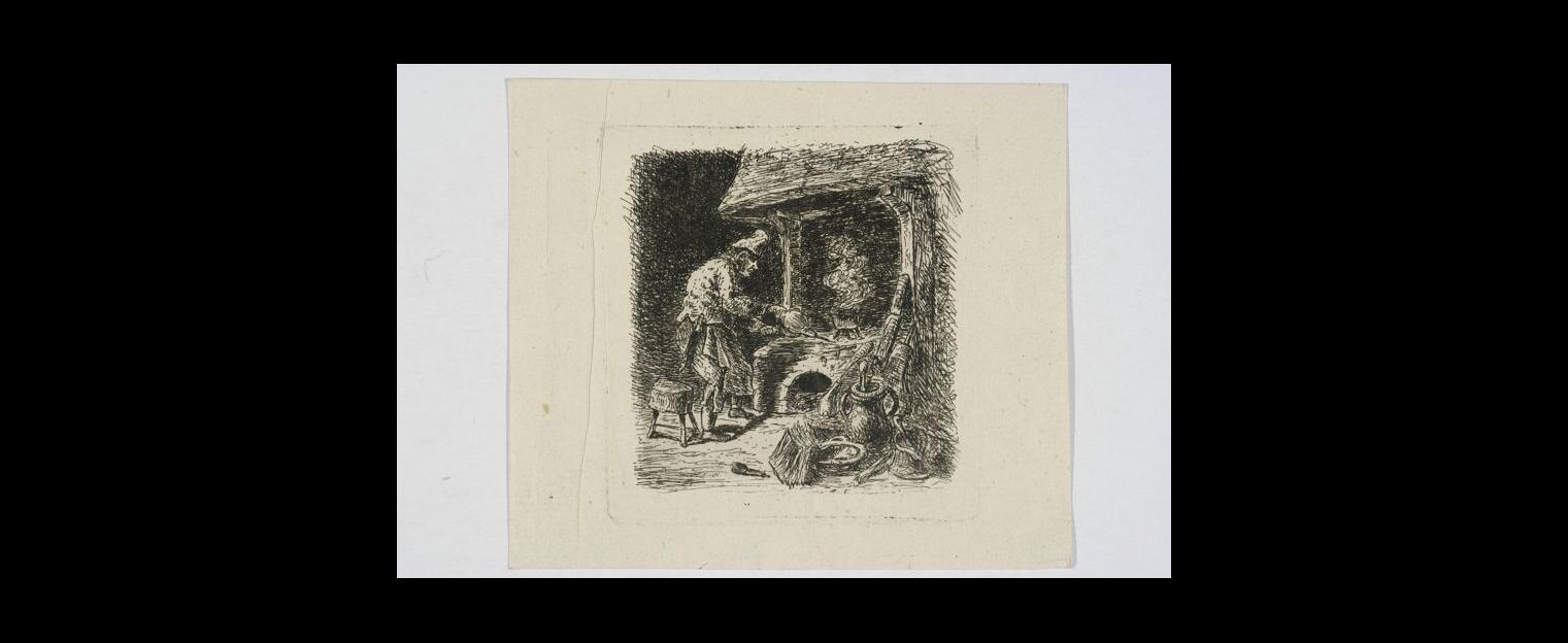 Męszczyzna podtrzymujący w piecu  ok 1860-grafika