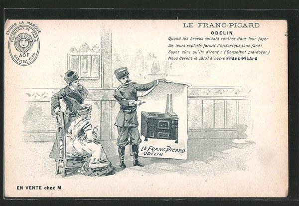 AK-Le-Franc-Picard-Fourneaux-de-Paris-Mann-zeigt-einem-Paar-einen-Herd-mit-Backofen-auf-dem-Plakat_600x413