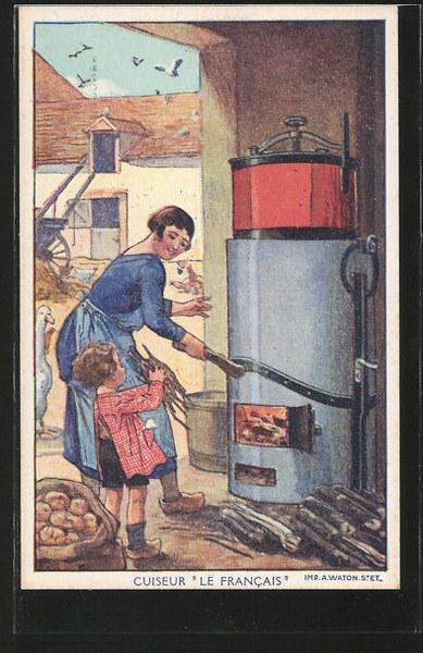 AK-Reklame-fuer-Ofen-Le-Francais-Dame-heizt-Ofen-an-Gans_389x600