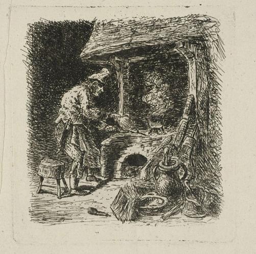 Przy piecu Emil Hutter 1860 rok rysunek
