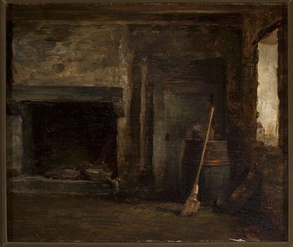 obraz  wnętrze kominka z beczką XIX wiek_600x506